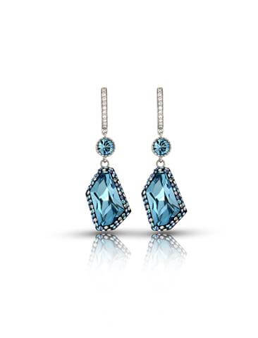 Aquamarine crystal drop earrings_ crystal edge collection